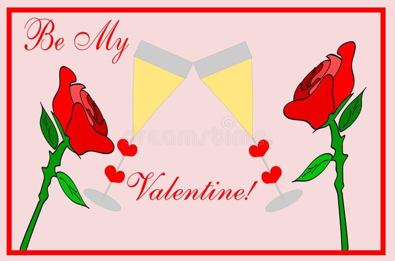 Valentine Roses avec Champagne - amour illustration stock