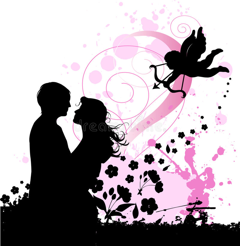 Valentine S Background With Cupid And Couple In Lo Royalty Free Stock Photo