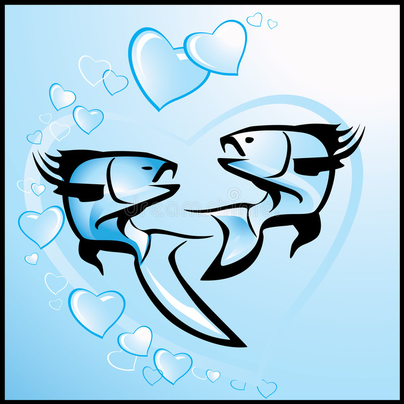 Valentine's background with fishes vector illustration