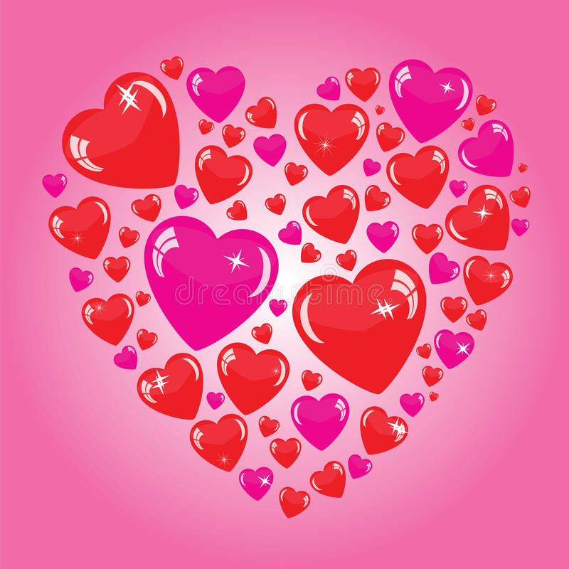 Download Valentine's Background With Many Hearts Stock Illustration - Illustration of bright, illustration: 34760395