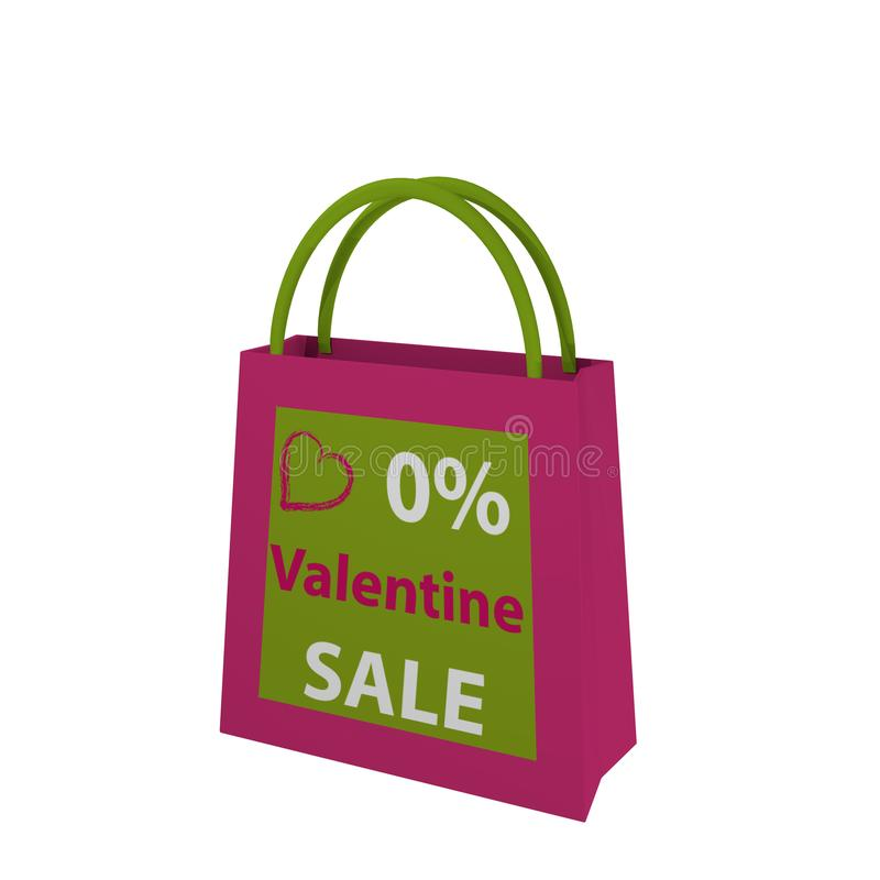 Valentine`s bag in pink-green with the lettering Valentin Sale. 3d render royalty free illustration