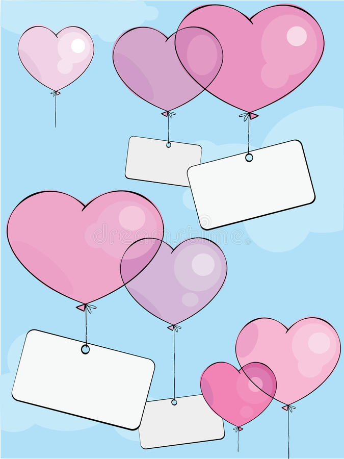 Download Valentine's balloons stock vector. Image of background - 12743093
