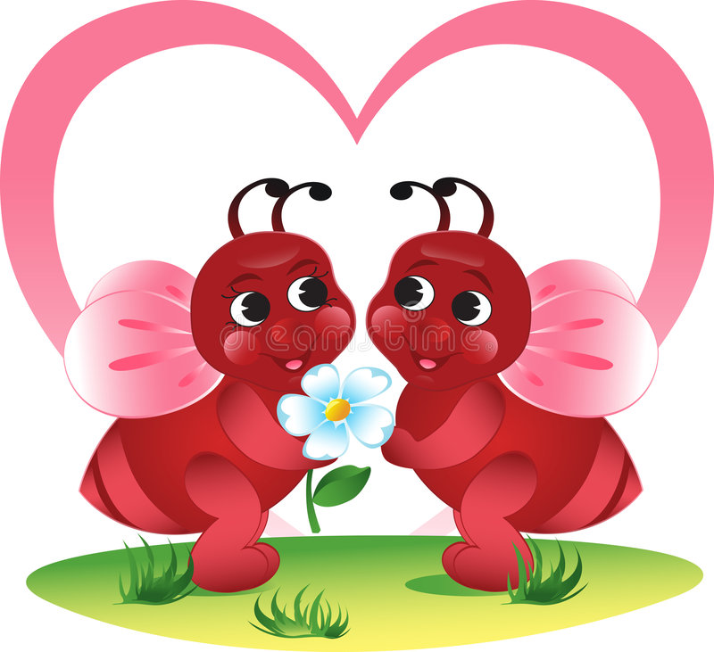 Valentine's bees stock images