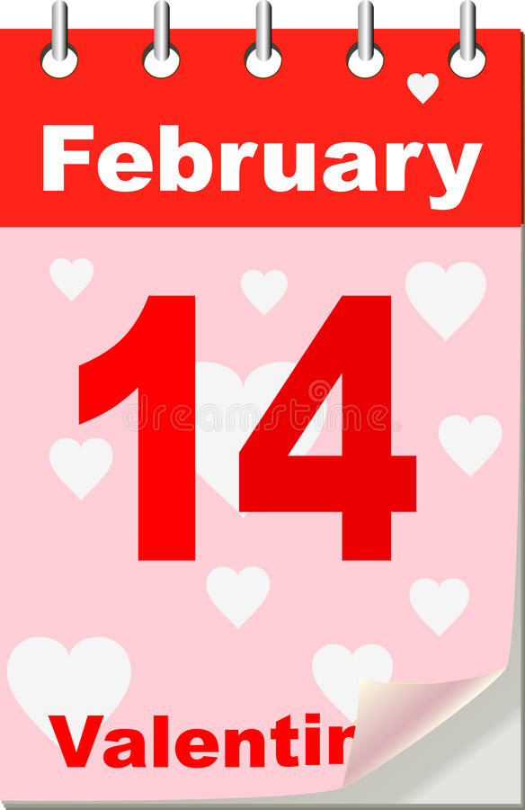 Valentine's calendar. Vector illustration of Valentine's calendar royalty free illustration