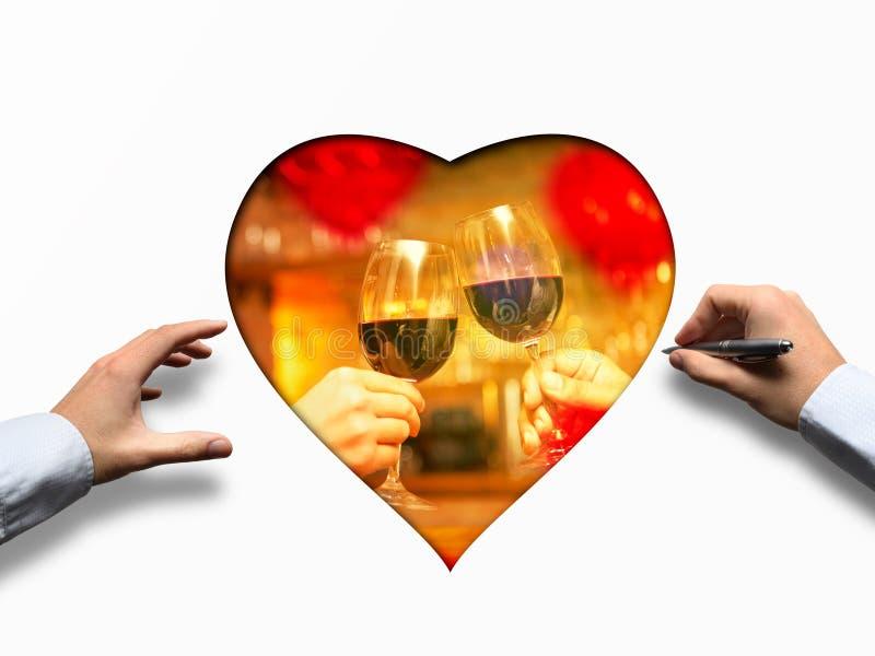 Valentine& x27; s-dagbegrepp med vin och exponeringsglas royaltyfri fotografi