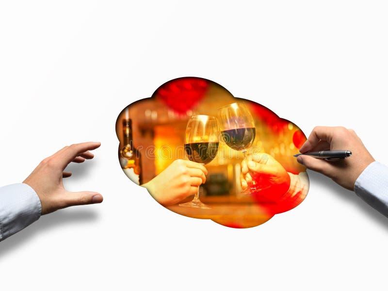 Valentine& x27; s-dagbegrepp med vin och exponeringsglas arkivfoton