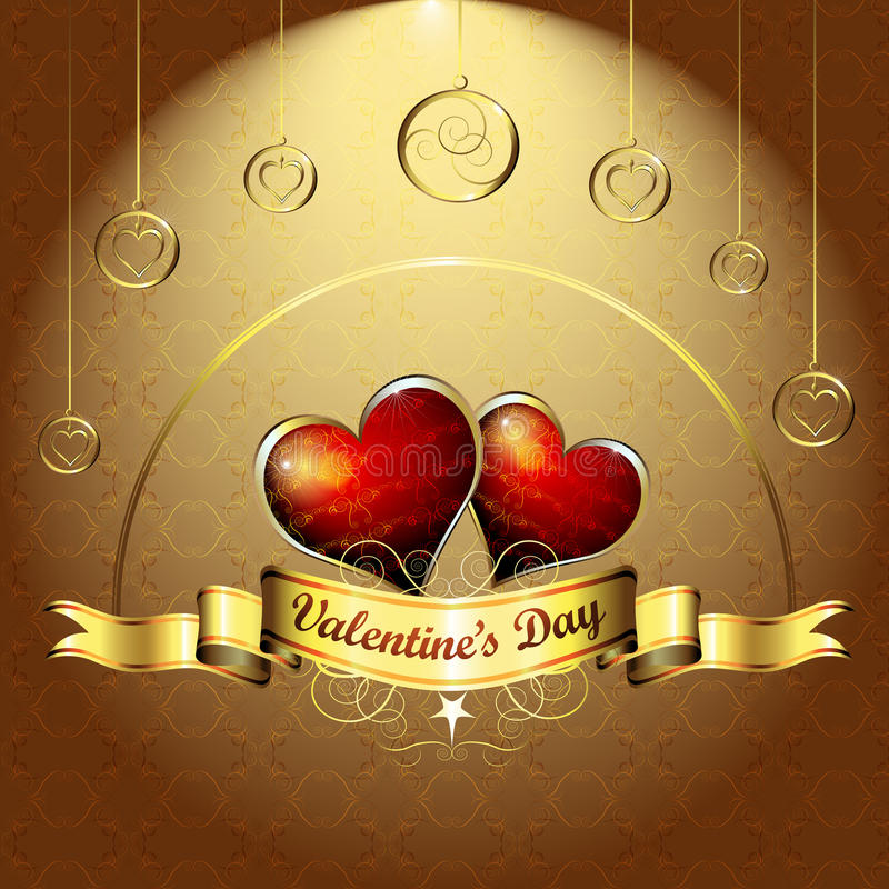 Valentine's day. Illustration with hearts of love vector illustration