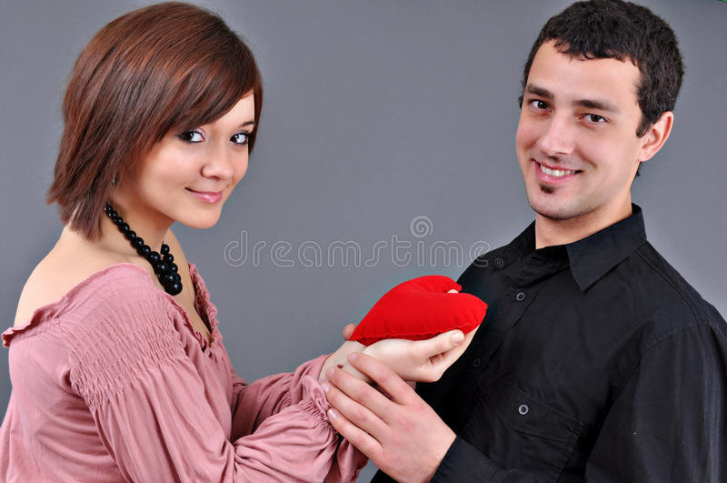 Valentine's day. On studio and grey background royalty free stock image