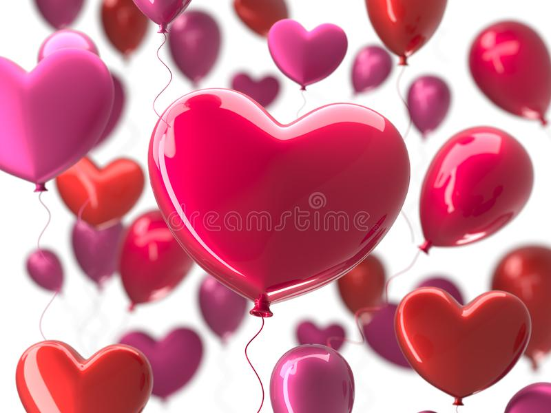 Valentine`s day abstract background with red 3d balloons. Heart shape. February 14, love. Romantic wedding greeting card royalty free illustration