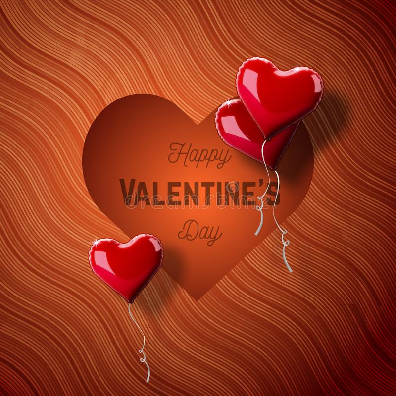 Valentine`s day abstract background with red 3d heart-shaped balloons. Vector holiday illustration. stock illustration