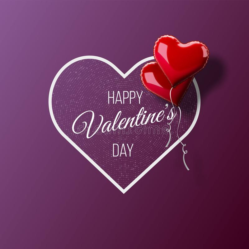 Valentine`s day abstract background with red 3d heart-shaped balloons. Vector holiday illustration. vector illustration