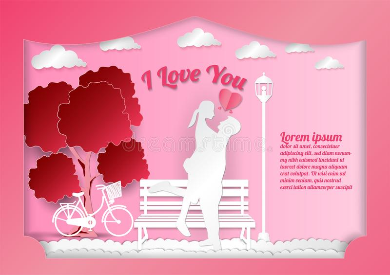 Valentine`s day on abstract background with text I love vector illustration
