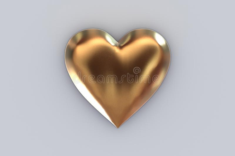 Valentine`s Day Abstract 3D Background With Big Metallic Gold Heart on Gray Background vector illustration