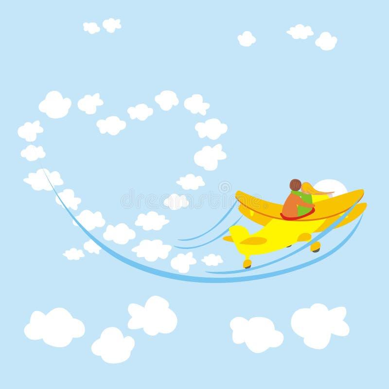 Valentine's Day on airplane royalty free illustration