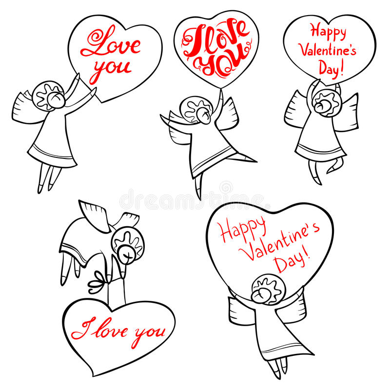 Valentine`s Day angels set with cute hand drawn lettering. I lov. E you inspirational quote. Cupids with red hearts. Doodle characters for selebration cards and stock illustration