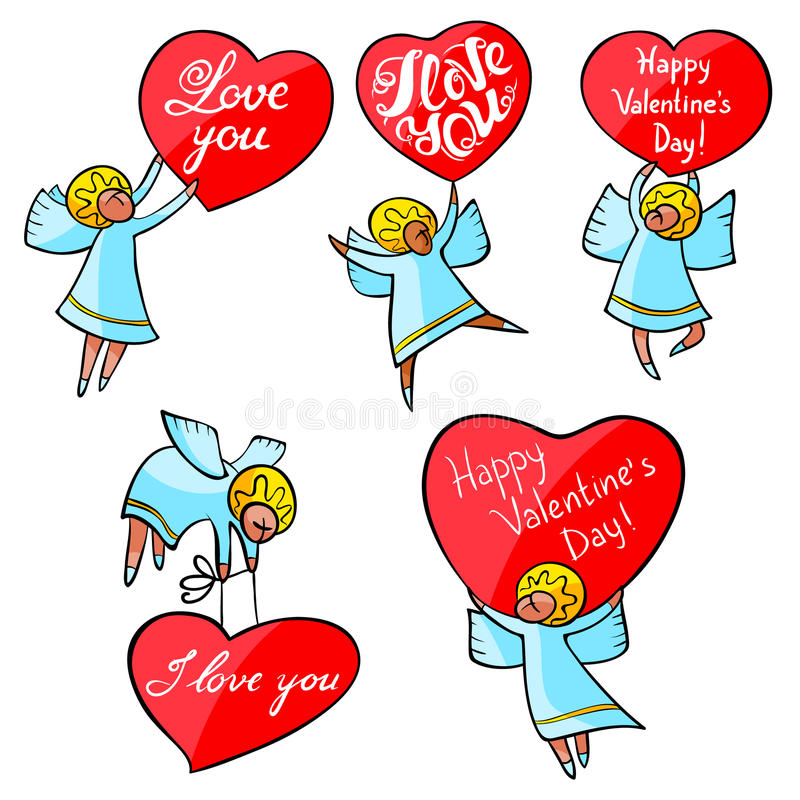 Valentine`s Day angels set with cute hand drawn lettering. I lov. E you inspirational quote. Cupids with red hearts. Doodle characters for selebration cards and royalty free illustration