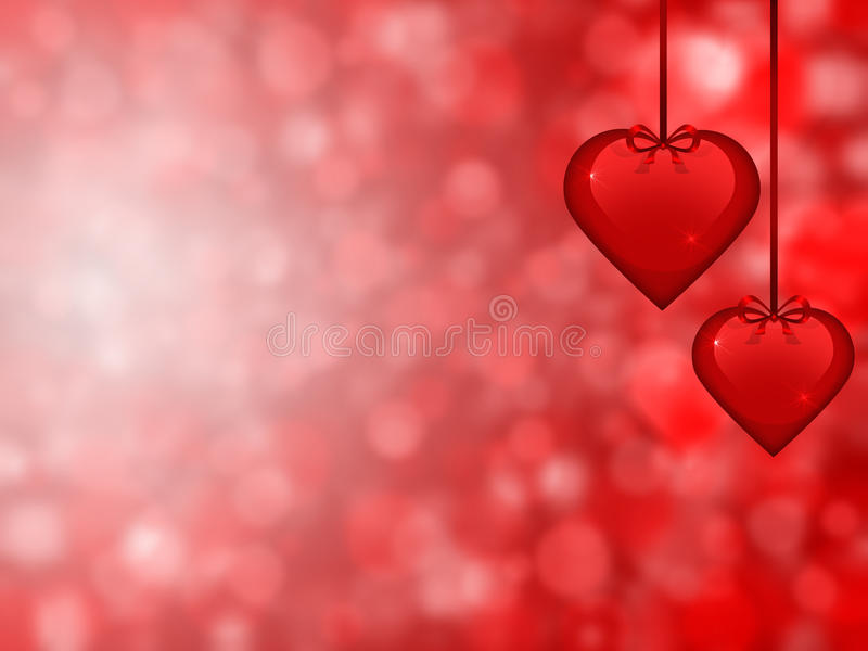 Valentine's day background. With two hearts in the foreground royalty free illustration