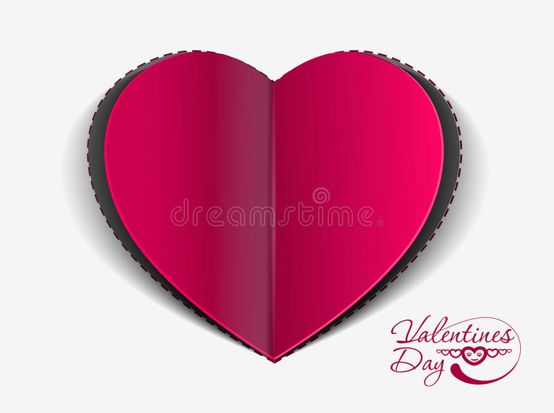 Valentine's day background. Valentine's day paper curl heart, vector illustration stock illustration