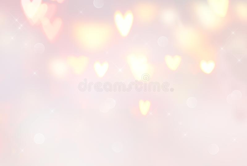 Valentine`s Day background. Abstract glowing hearts backdrop. Pastel colors, pink and beige. Valentine`s Day background. Abstract glowing hearts holiday backdrop vector illustration