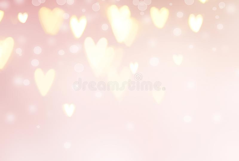 Valentine`s Day background. Abstract hearts on pink holiday backdrop. Valentine`s Day background. Abstract glowing hearts on pink holiday backdrop vector illustration