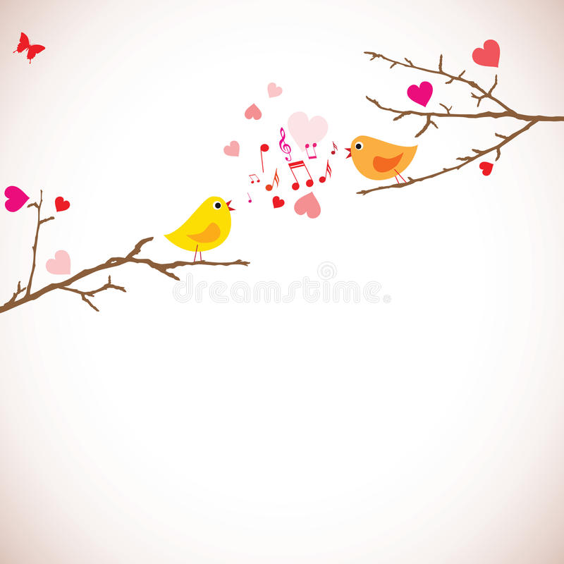 Valentines day background. Birds on branches () vector illustration