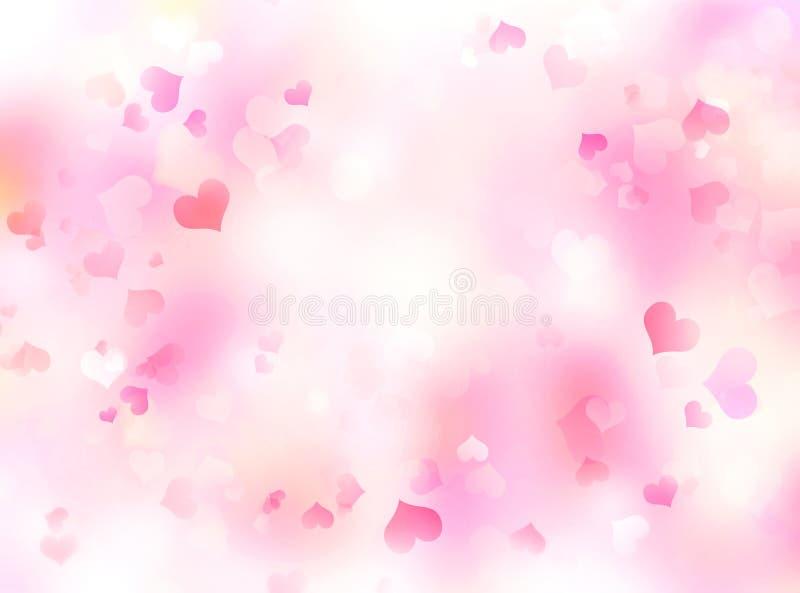 Valentine`s day background,blurred hearts backdrop stock illustration