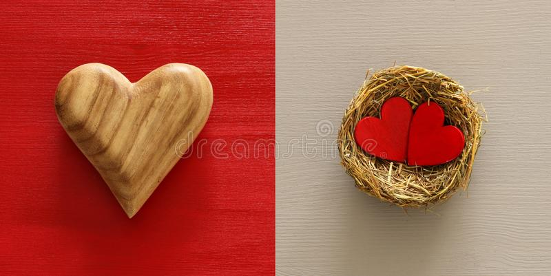 Valentine& x27;s day background collage. Heart and bird nest. Top view. stock images