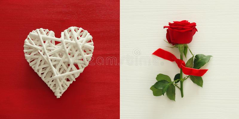 Valentine& x27;s day background collage. Heart and red rose. Top view. royalty free stock images