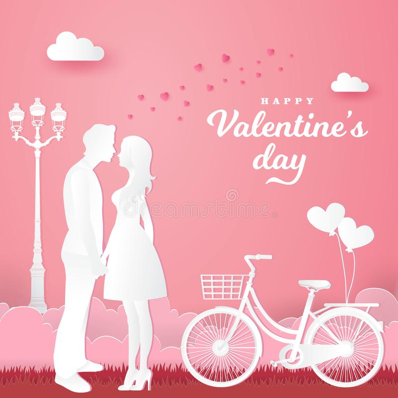 Valentine`s Day background. couple in love holding hands and looking each other with bicycle. On pink background. paper cut style vector royalty free illustration