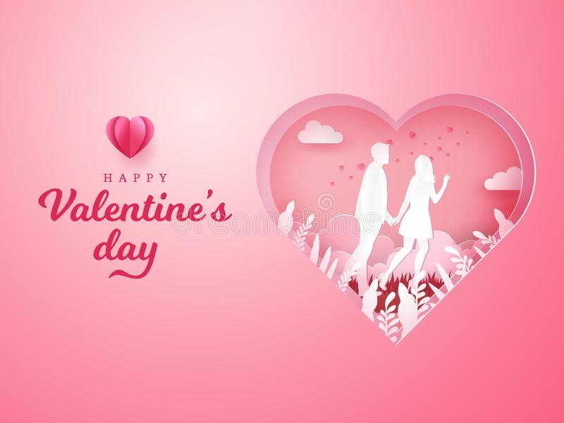 Valentine`s Day background. couple walking and holding hands with carved heart background. Paper cut style vector illustration vector illustration