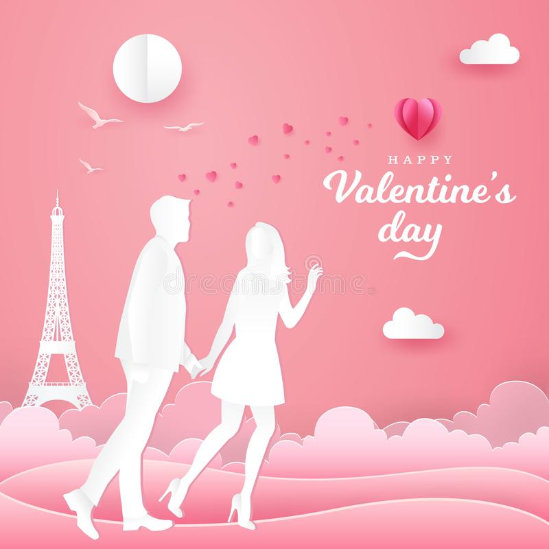 Valentine`s Day background. couple walking and holding hands on pink background. Paper cut style vector illustration vector illustration
