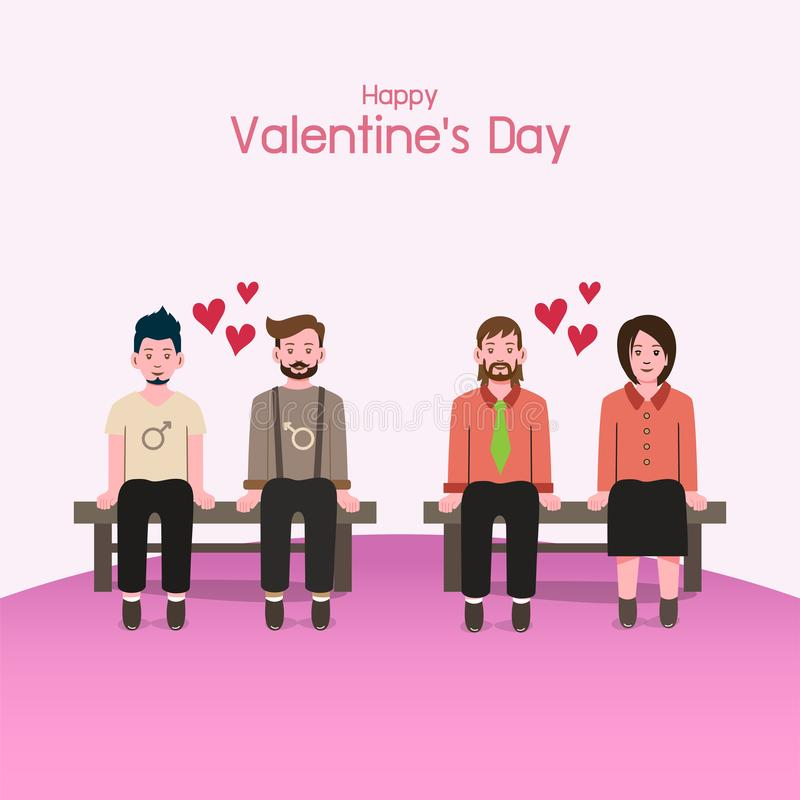 Valentine `s day background, couples in love stock images