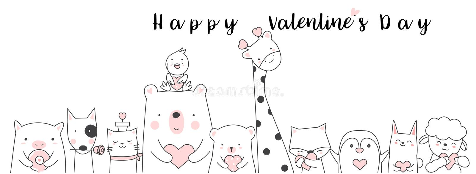 Valentine`s Day background with cute baby animal cartoon h vector illustration