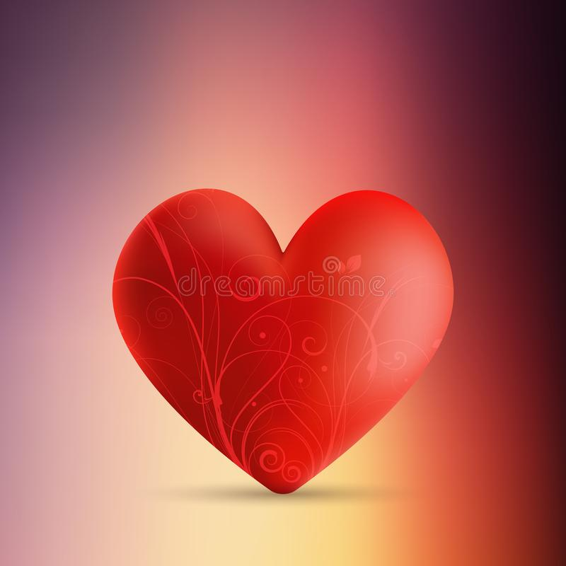 Valentine`s day background with decorative heart on blur backgro vector illustration