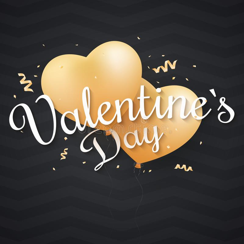 Valentine`s Day background. Flying golden balloons from the heart with calligraphy. Abstarct dark pattern. Golden confetti. Poste royalty free illustration