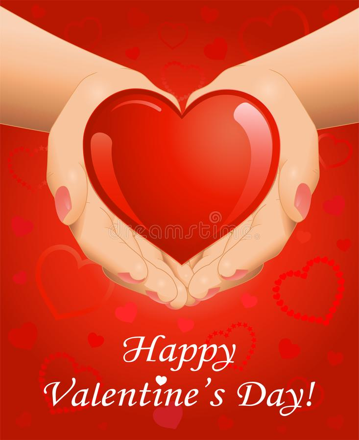 Valentine`s Day background with heart in hands stock photography