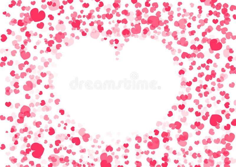 Valentine`s day background, heart shape frame, confetti falling paper decoration of love vector abstract illustration vector illustration