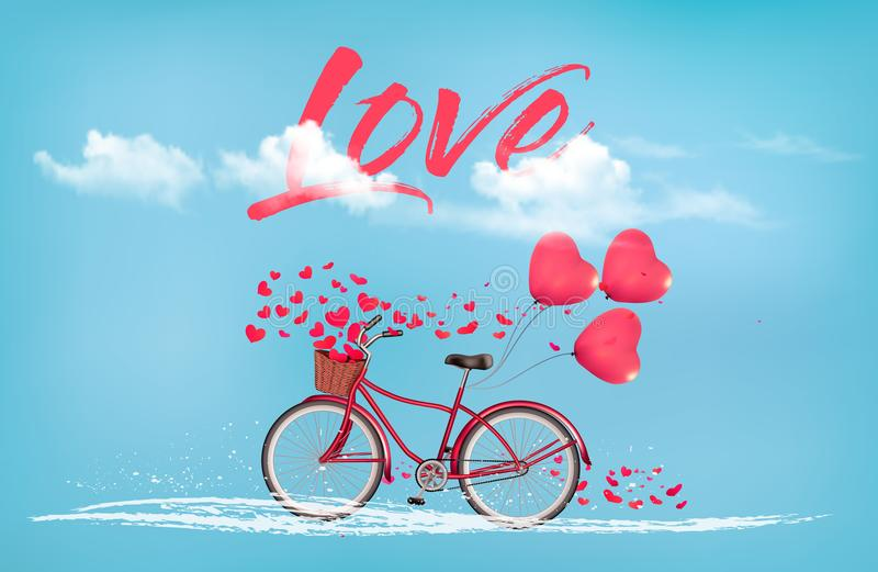 Valentine`s Day background with a heart shaped ballons. And a bicycle. Vector vector illustration
