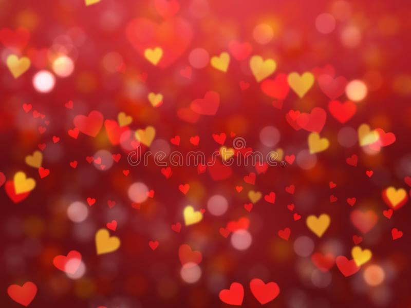 Valentine`s Day background with heart shaped bokeh lights. In red and gold royalty free illustration