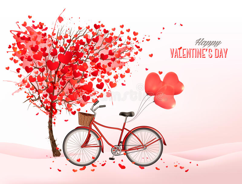Valentine s day background with a heart shaped tree stock