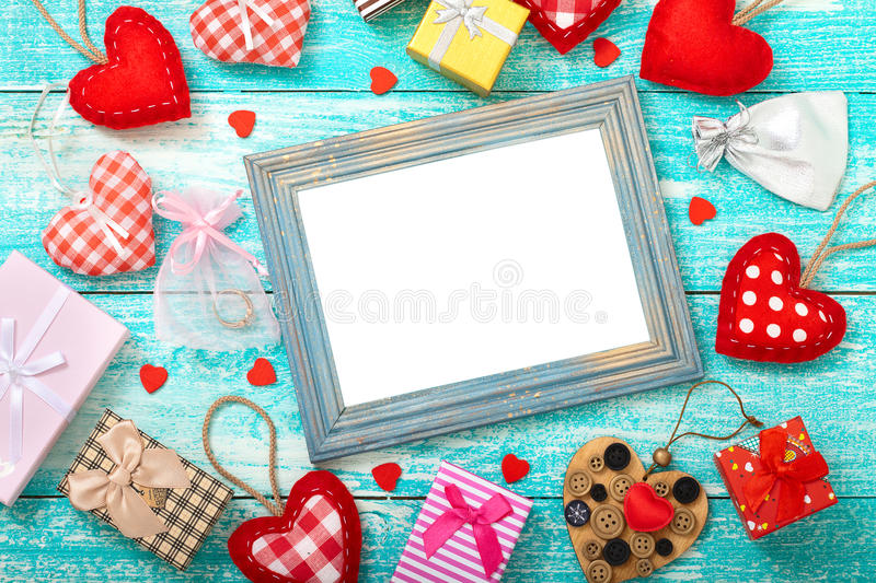 Valentine's day background with heart shapes on wooden table. royalty free stock photo