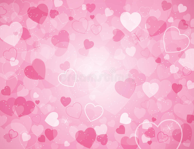 Valentine's day background with hearts. Valentine's day background in pink and with hearts royalty free illustration
