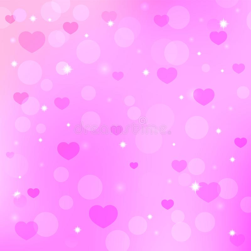 Valentine `s day background with hearts. Seamless pattern on Valentine`s Day, background with heart and sparkling stars vector illustration