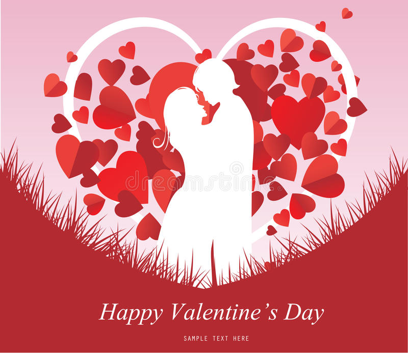 Valentine's Day background with a kissing couple silhouette, heart shaped tree vector illustration