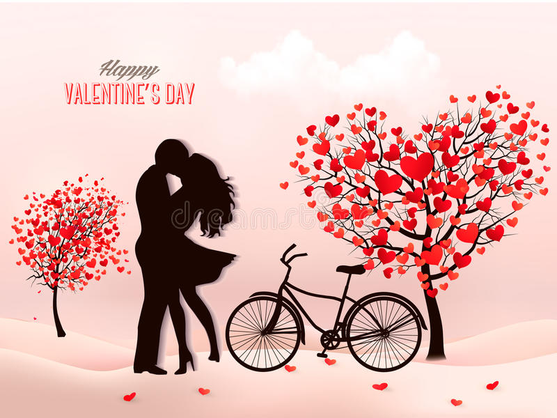 Valentine`s Day background with a kissing couple silhouette stock illustration