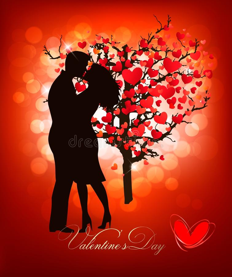 Valentine's Day background with a kissing couple silhouette. And heart shaped tree. Vector vector illustration