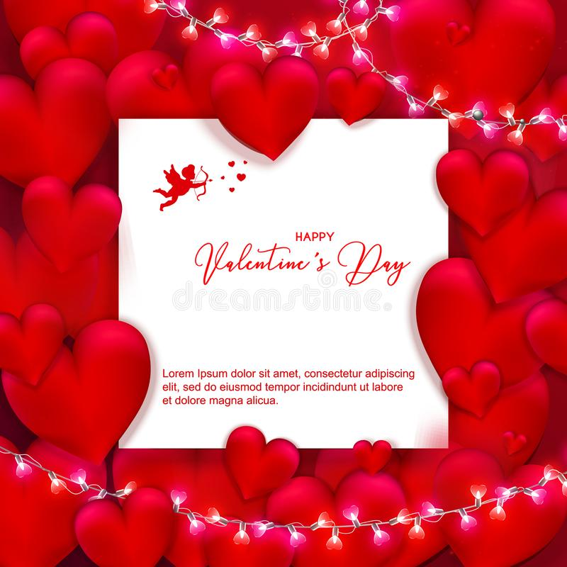 Valentine`s Day background with light bulbs festive garland and stock illustration