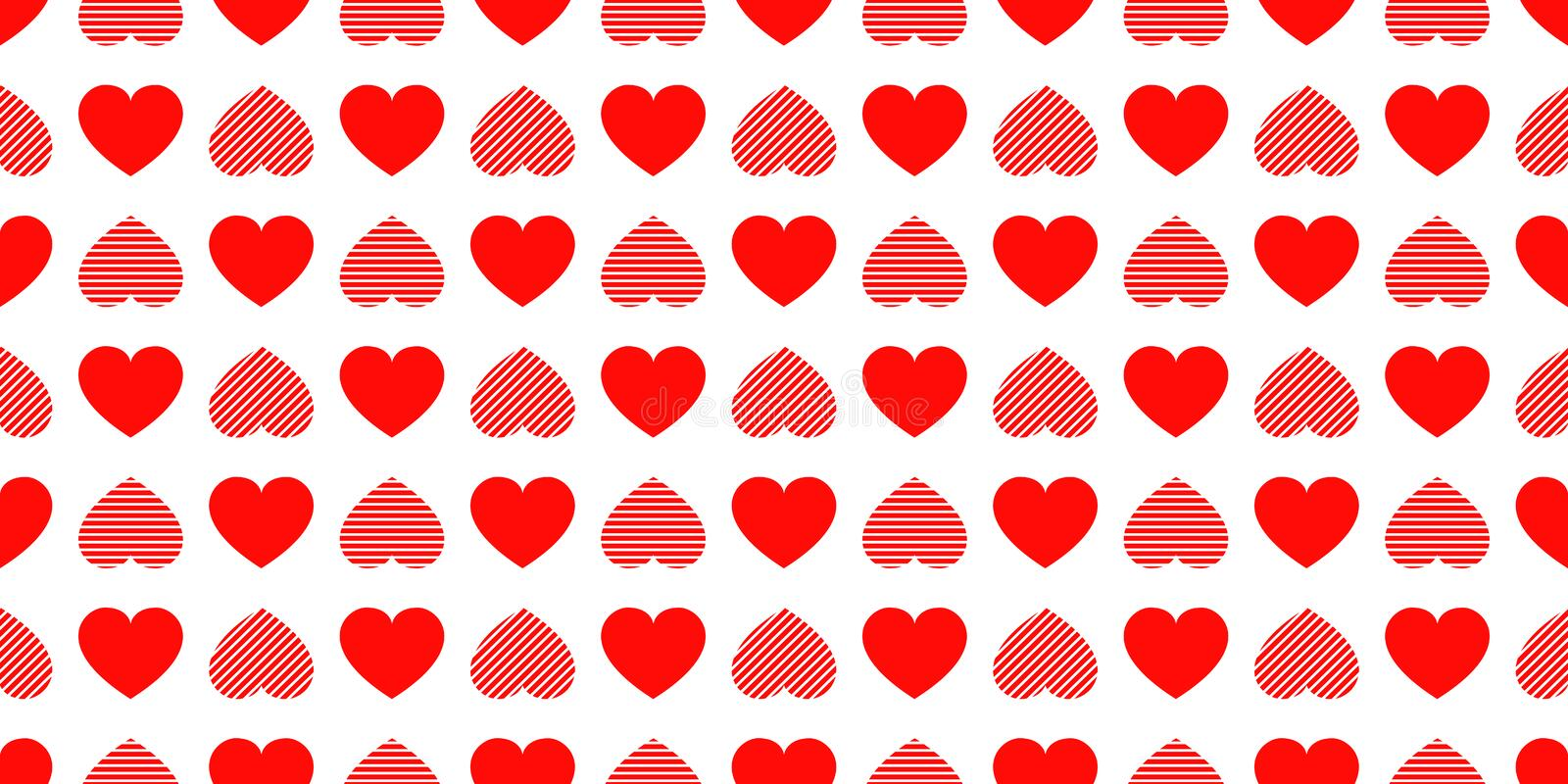 Valentine`s Day background. Love hearts icons seamless pattern. Abstract repeated texture. Red hearts symbols. Good choice for vector illustration