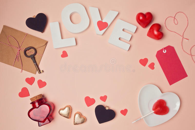 valentine's day background with love letters and heart shapes, Ideas