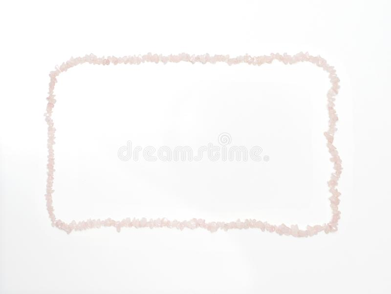 Valentine`s Day background made by rose quartz crystal necklace stock photos
